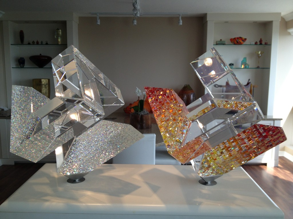 Two of the Starr's beloved glass sculptures.